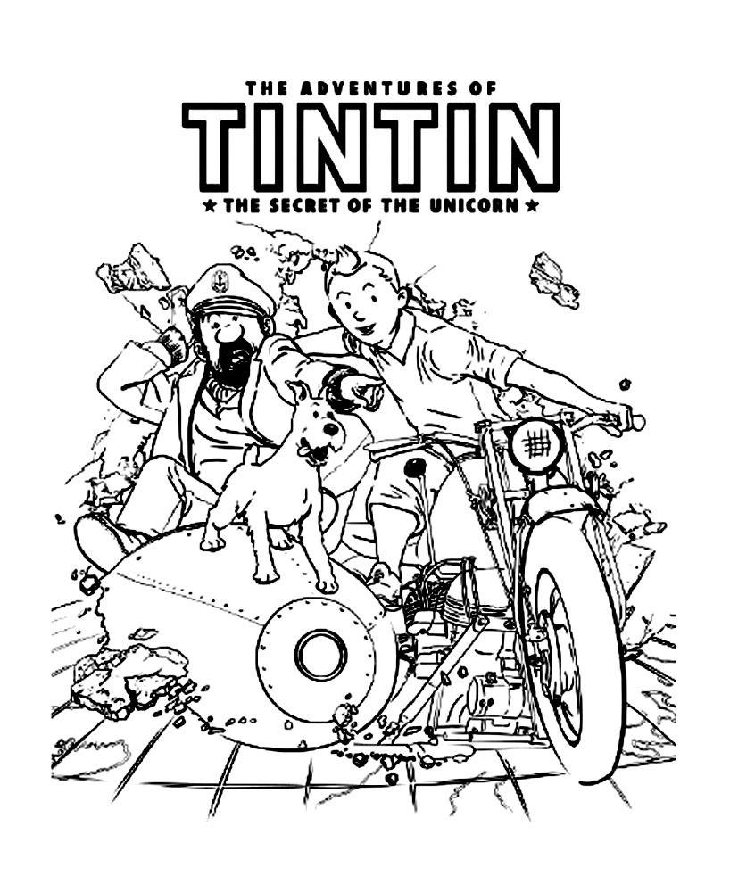 Coloriage créé à partir de l'affiche du film Tintin de Spielberg