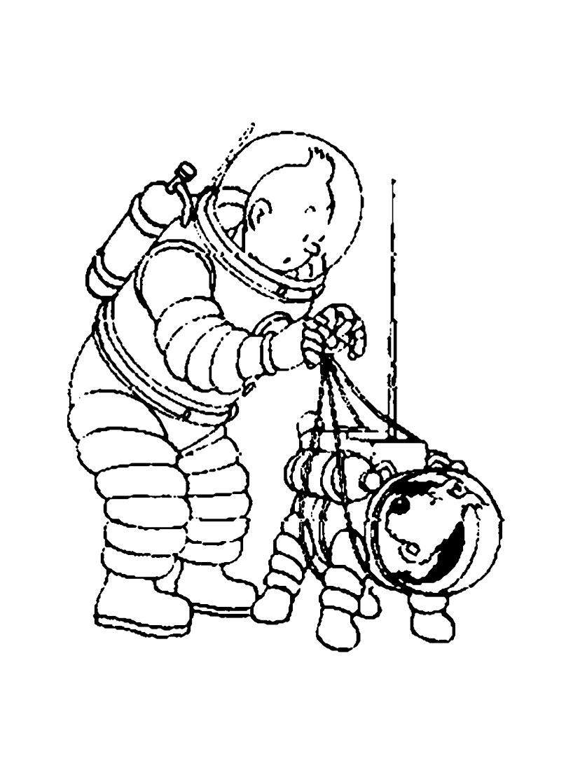 Tintin 6 coloriage tintin coloriages pour enfants - Coloriage fusee ...