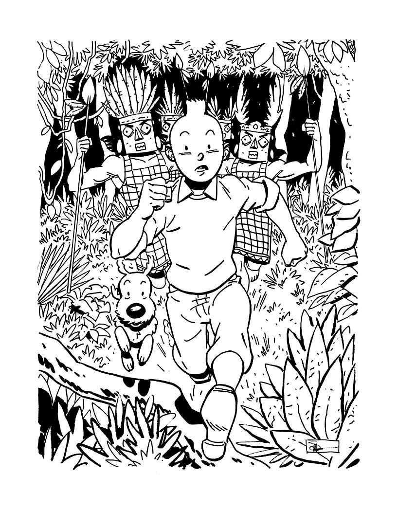 Magnifique coloriage tiré de Tintin et les Picaros