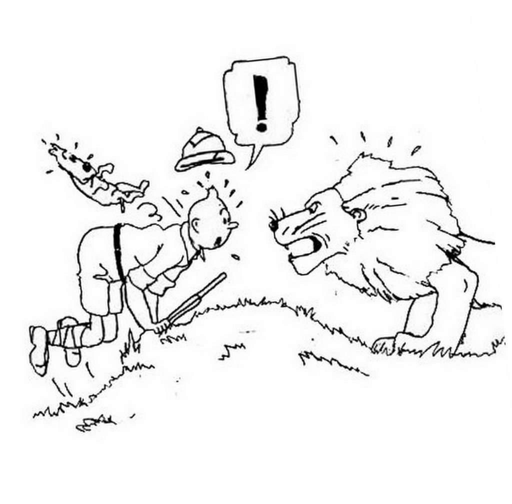 Un dessin tiré d'une des bandes dessinées Tintin d'Hergé à imprimer