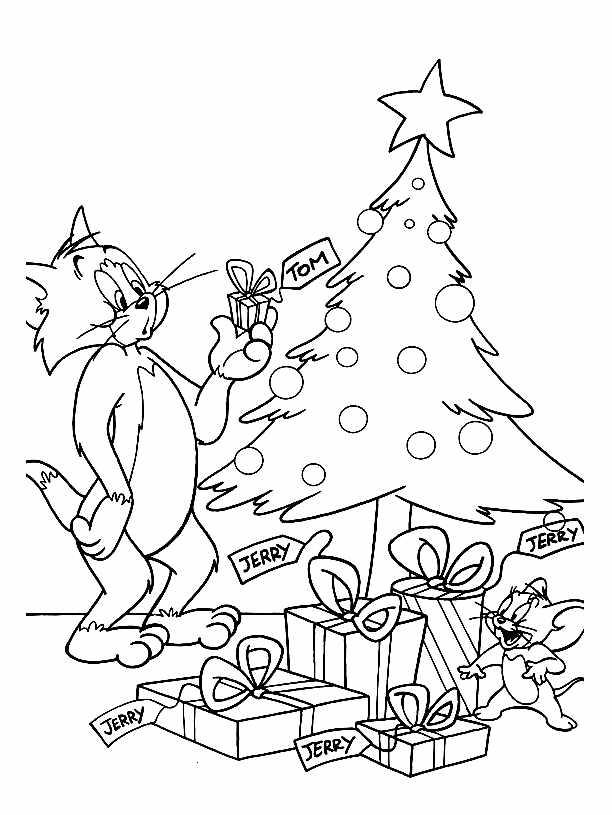 Coloriage de Noël pour Tom & Jerry