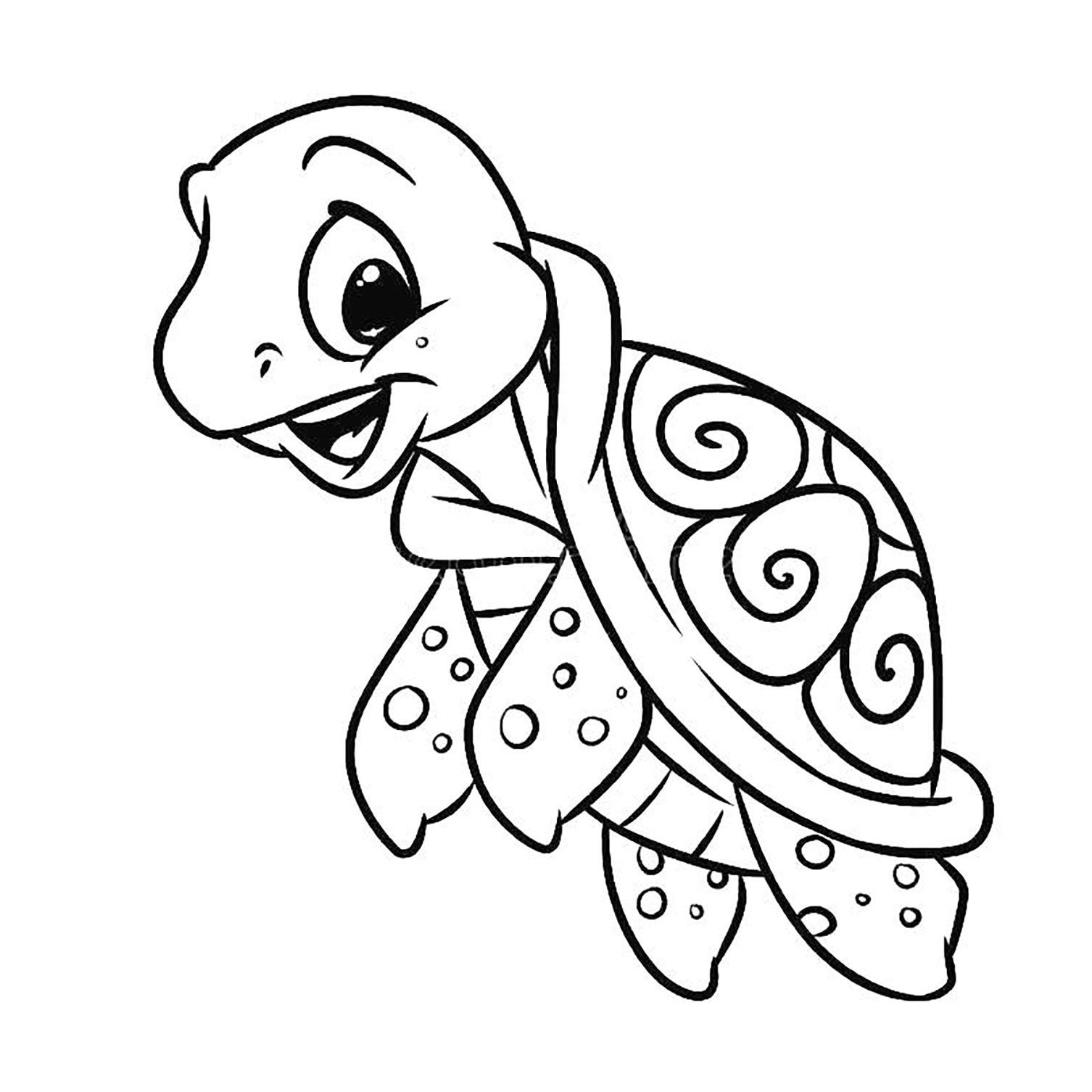 Coloriage de tortue à colorier pour enfants - Coloriage de ...