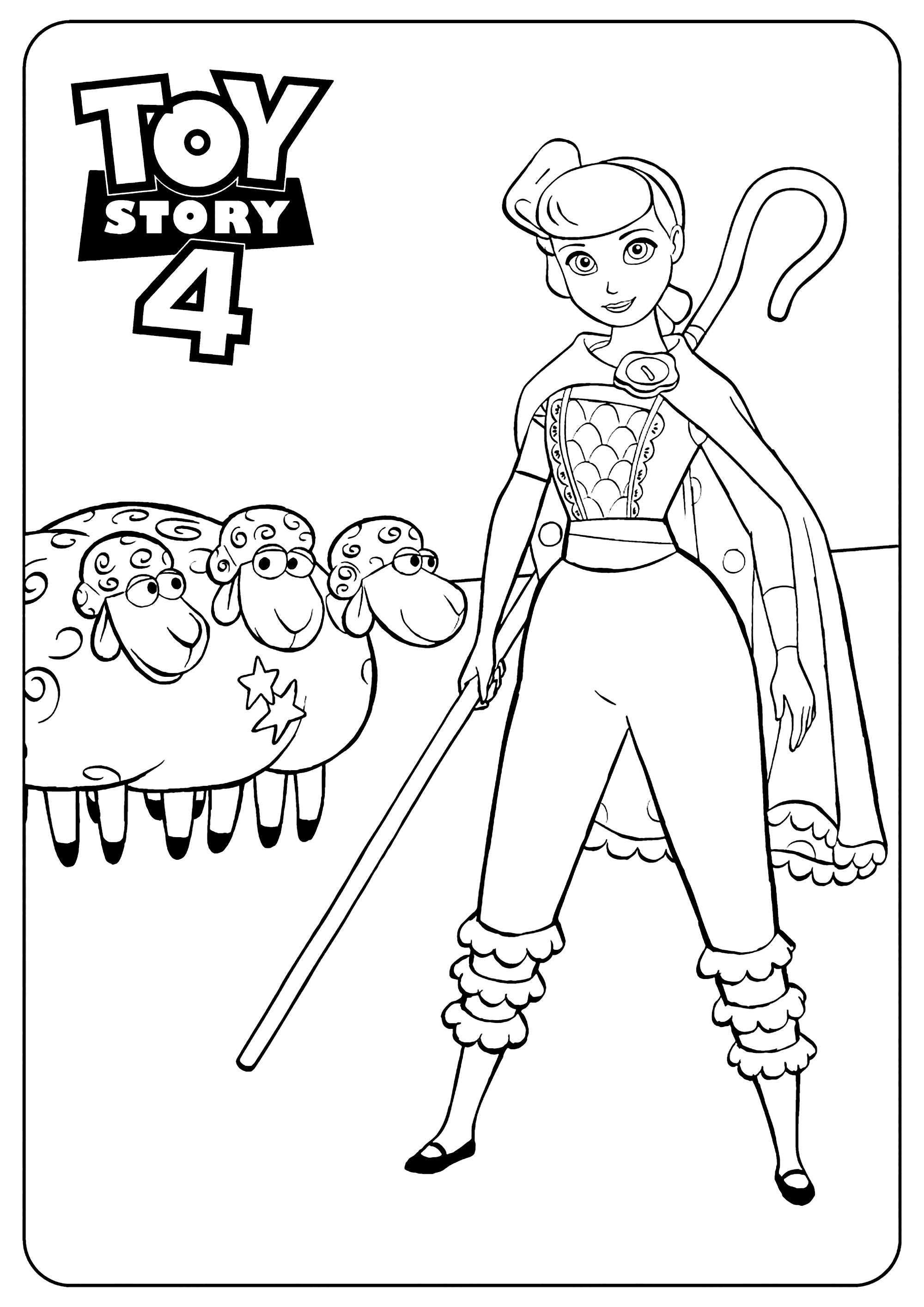 Coloriage amusant de Toy Story 4 à imprimer et colorier : La bergère