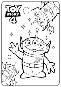Les extraterrestres : Coloriage de Toy Story 4 à imprimer pour enfants