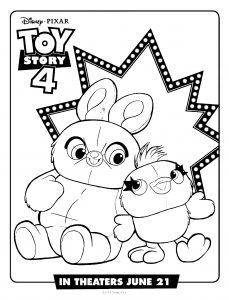 Ducky et Bunny : Coloriage de Toy Story 4 à imprimer gratuitement