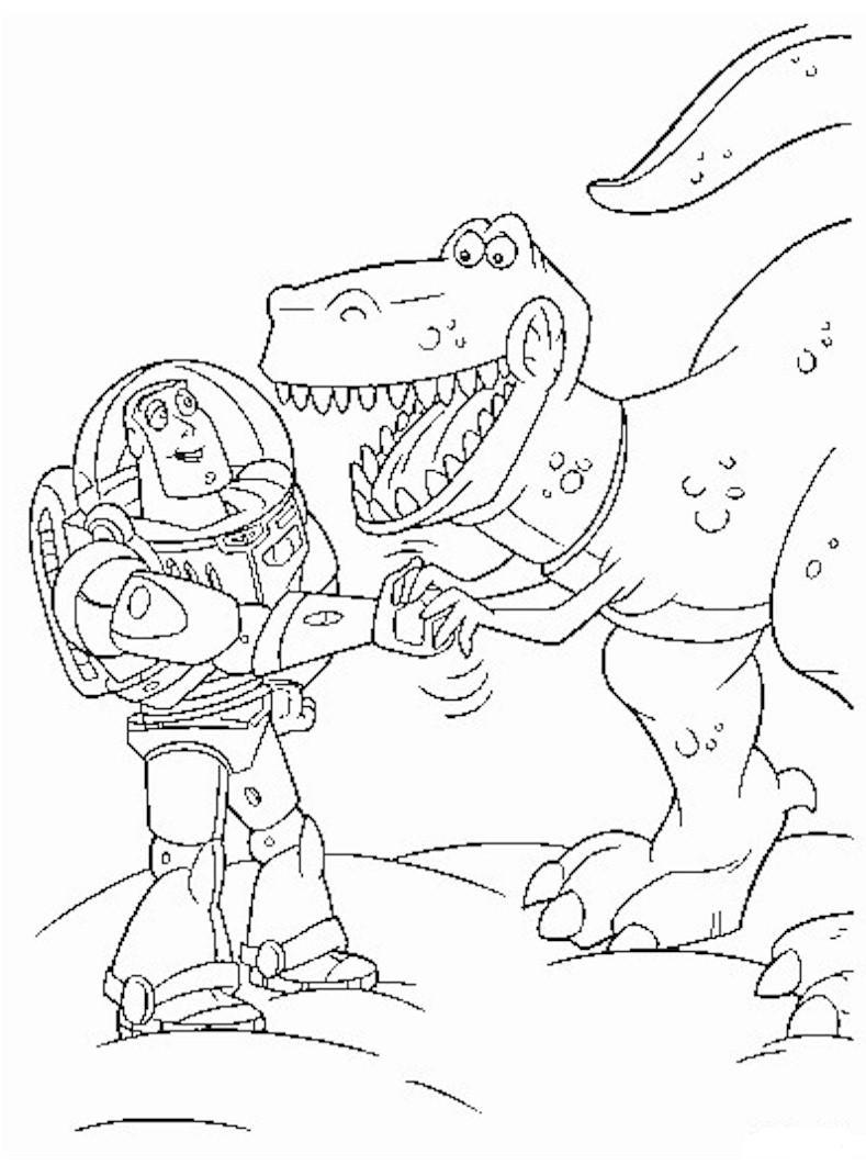 Buzz et le t rex coloriage toy story coloriages pour - Coloriage buzz ...
