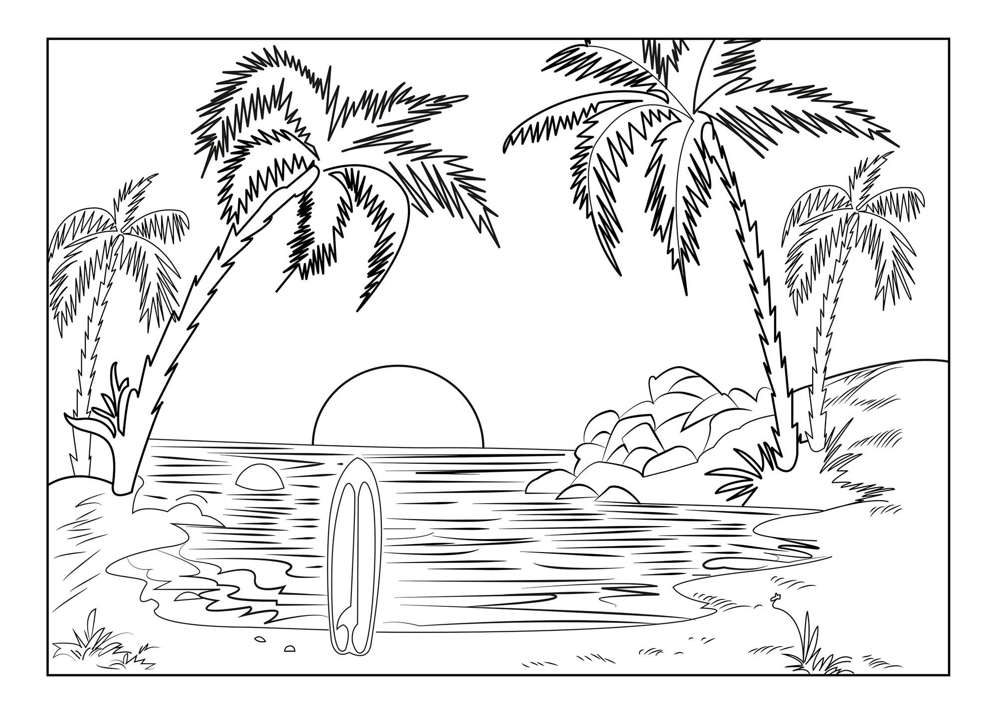 Paysage paradisiaque coloriage sur les vacances la mer - Coloriage paysage mer ...