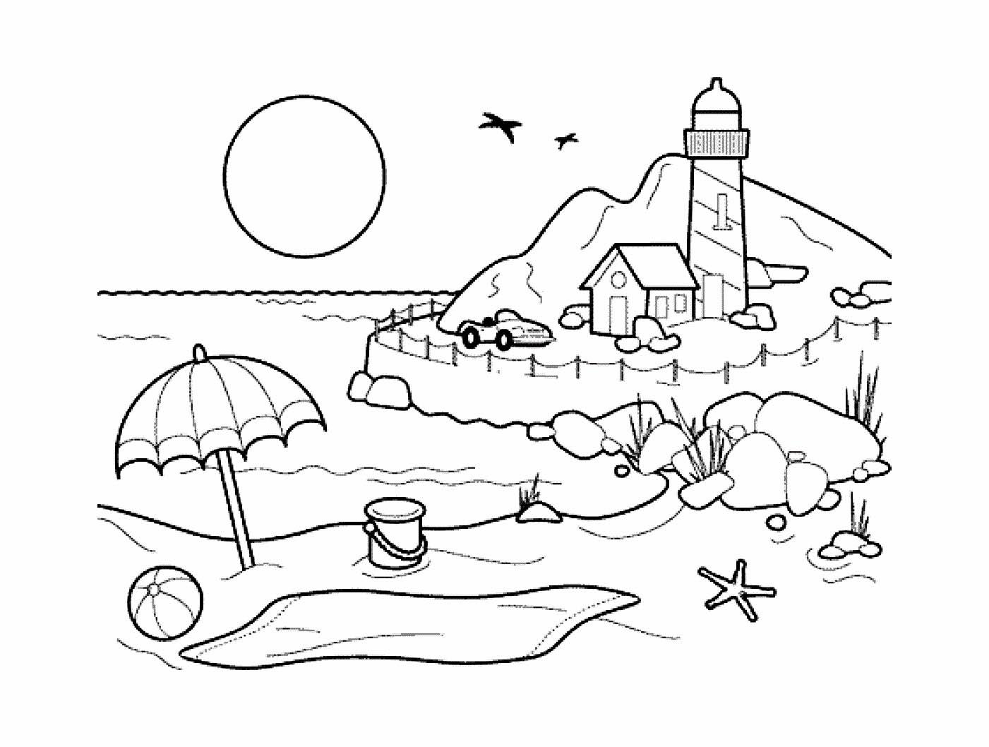 Simple plage coloriage sur les vacances la mer coloriages pour enfants - Coloriage plage ...