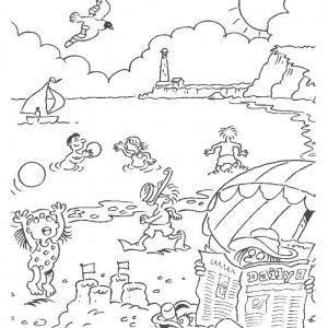 Coloriage de vacances à la mer pour enfants