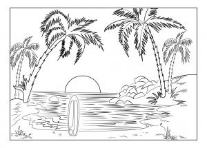 Coloriage de vacances à la mer à colorier pour enfants