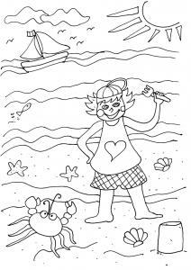 Image de vacances à la mer à imprimer et colorier