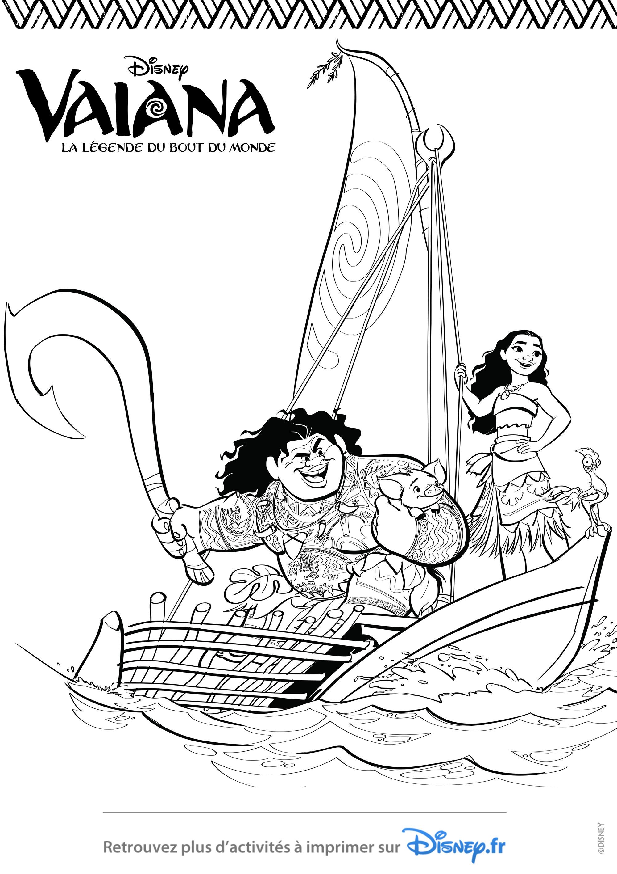Vaiana et maui dans un bateau coloriage va ana la l gende du bout du monde coloriages pour - Coloriage de vaiana ...