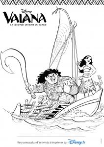 Coloriage vaiana et maui dans un bateau