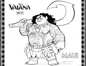 Dessin de Vaiana gratuit à télécharger et colorier
