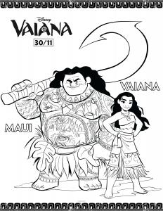 Dessin de Vaiana gratuit à imprimer et colorier