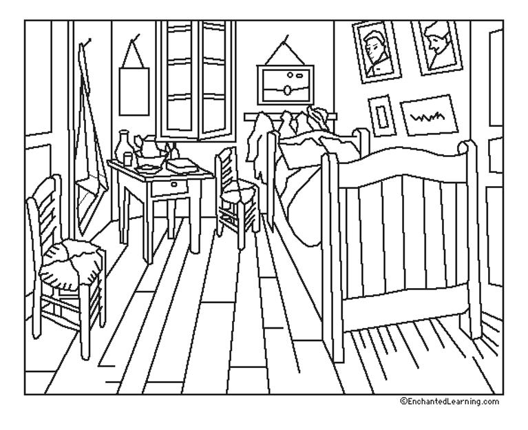 Van gogh chambre coloriage van gogh coloriages pour enfants - Coloriage de chambre de fille ...