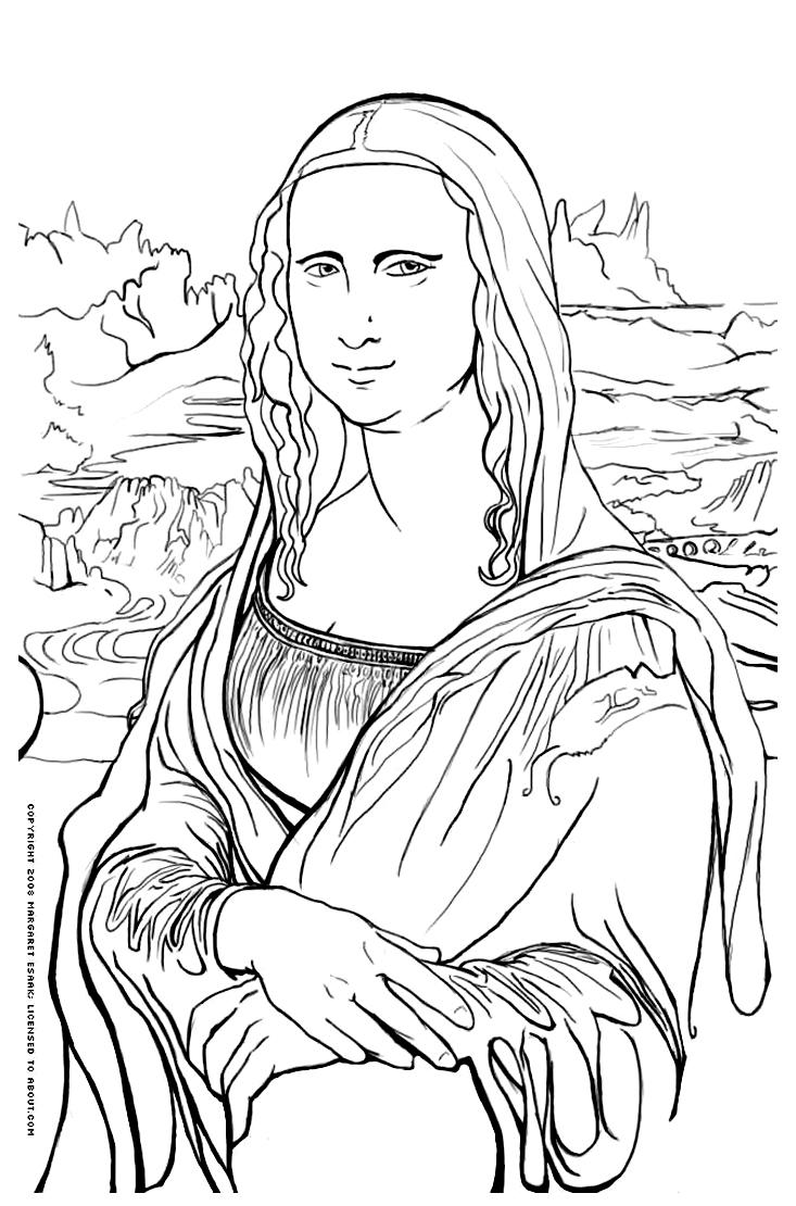 Mona Lisa Coloriage Leonard De Vinci La Joconde Etc Da Vinci Printable Coloring