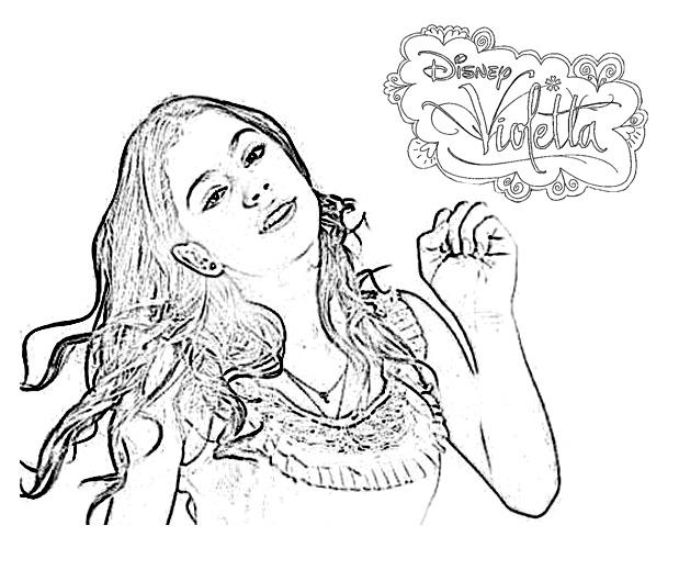 violetta cheveux aux vents avec le logo - Coloriage Violetta En Ligne