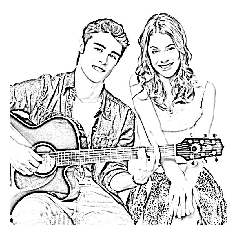 sur un air de guitare avec tomas - Coloriage Violetta En Ligne