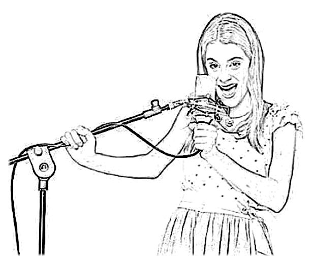 violetta chante dans son micro comme une vraie pro - Coloriage Violetta En Ligne