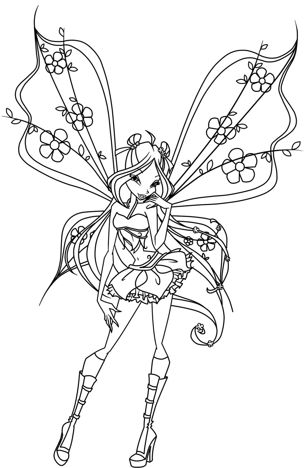 Winx 5 coloriage de winx coloriages pour enfants - Coloriage barbie fee ...