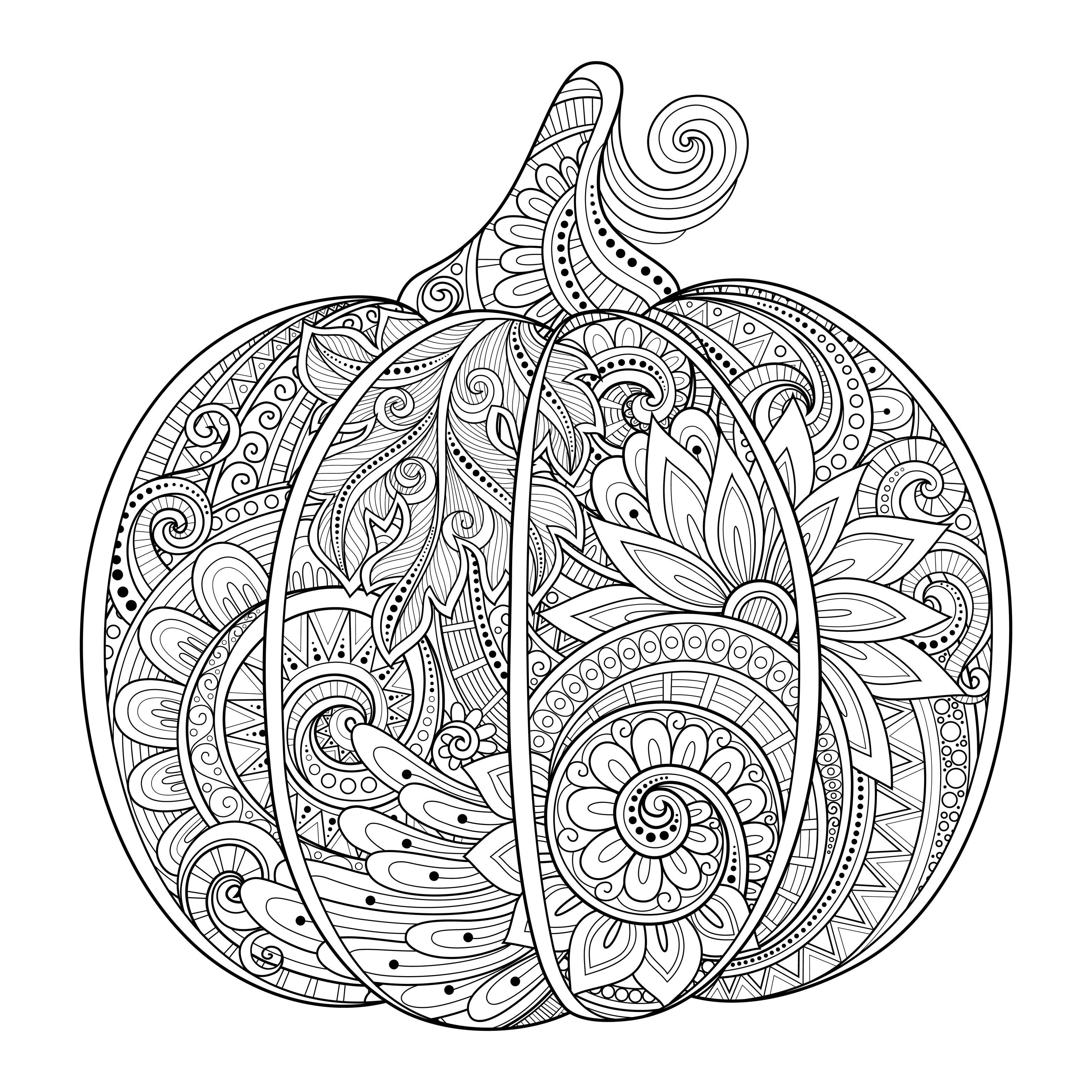 Citrouille halloween zentangle source 123rf - Citrouille a colorier halloween ...