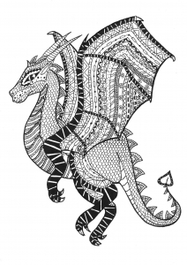 Coloriage dragon zentangle rachel