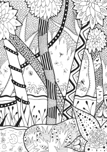 Coloriage foret zentangle rachel