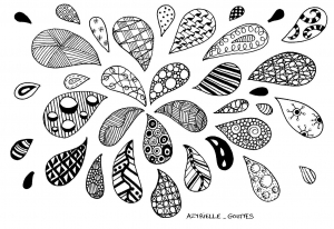 Coloriage gouttes zentangle par azyrielle