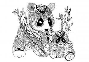Coloriage panda zentangle celine