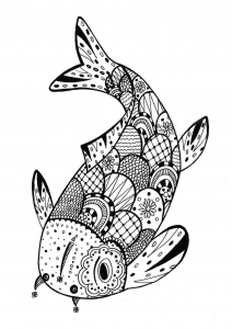 Coloriage poisson zentangle rachel