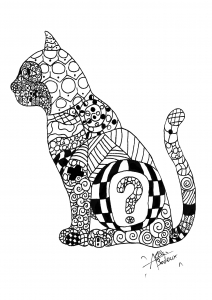 Coloriage zentangle cat
