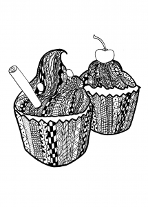 Coloriage zentangle cupcakes Celine