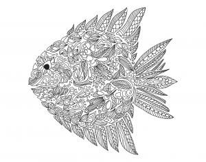 zentangle-a-colorier-poisson-par-artnataliia free to print