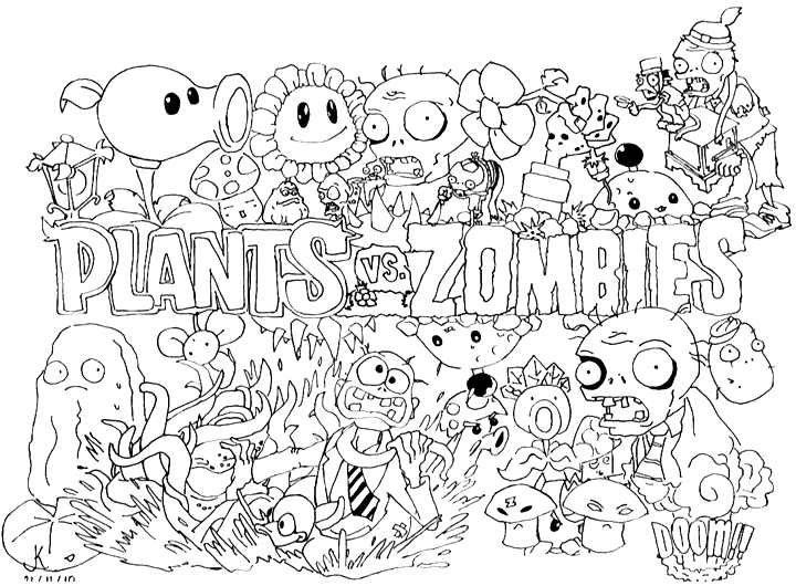 Zombies plant coloriage de zombies coloriages pour enfants - Dessin vegetation ...