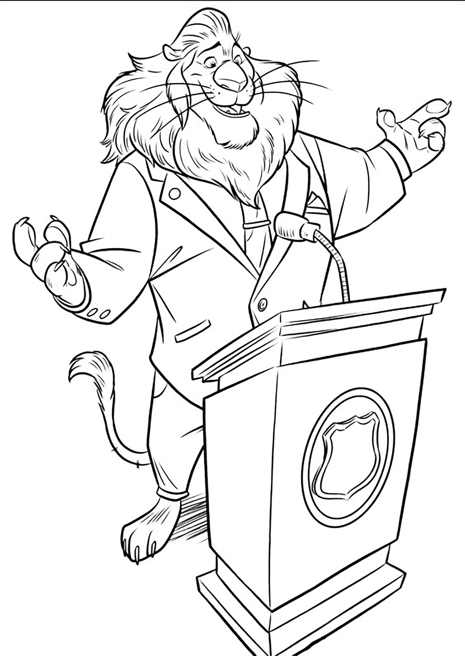 Le maire de la ville, qui n'est autre qu'un Lion, le Roi de la Jungle