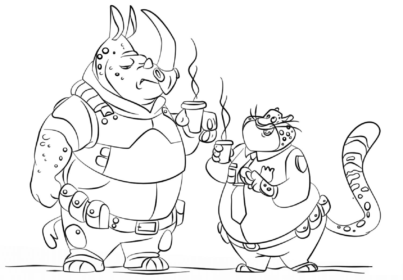 Deux policiers qui prennent leur café