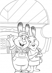 Coloriage zootopie les parents de judy